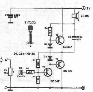 250mW low power audio amplifier circuit diagram project