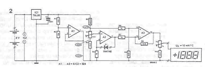 Electronic thermometer with AO circuit diagram project