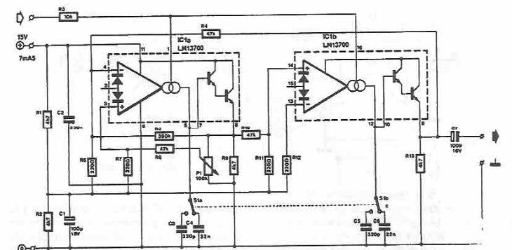 Sinusoidal voltage controlled oscillator circuit diagram
