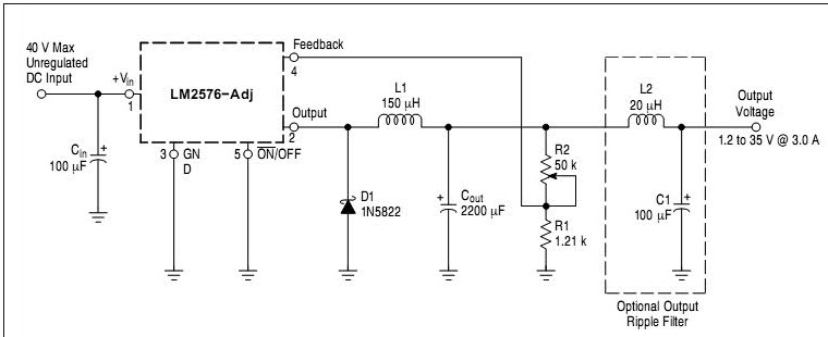 LM2576 lab power supply circuit diagram