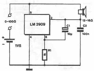 LM3909 continuity tester circuit diagram