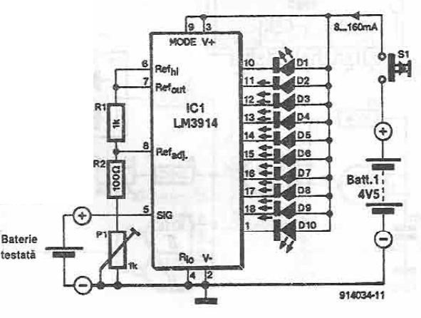 LM3914 battery tester circuit diagram