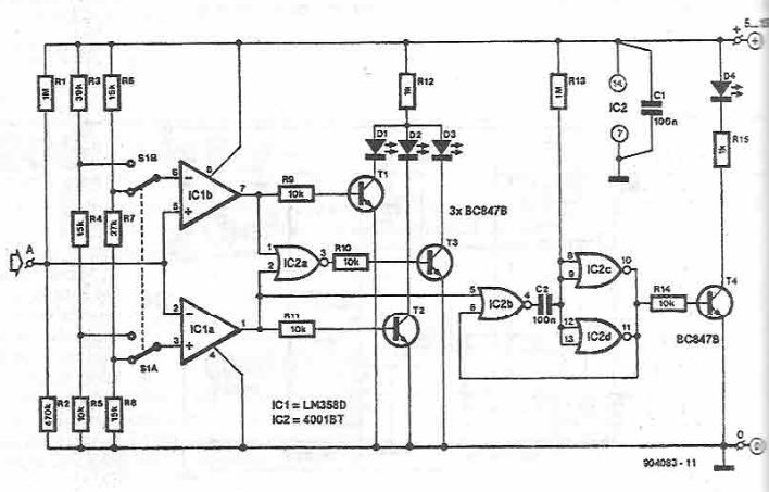 Simple logic tester circuit diagram