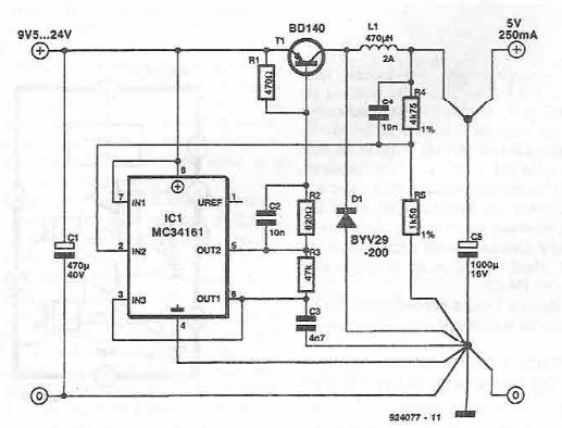 MC34161 5V switching power supply circuit