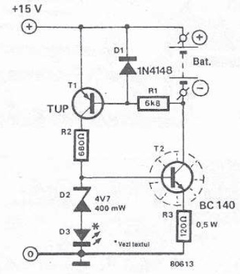 Simple battery charger for miniature batteries schematic