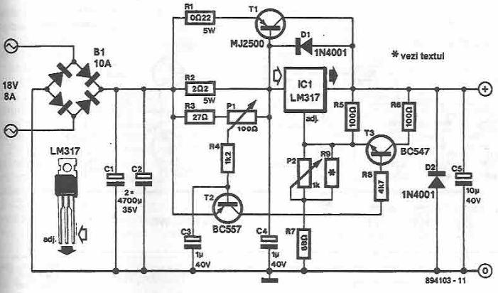DC motor control using LM317 voltage regulator
