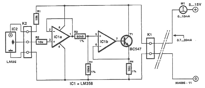 LM35 termo interface for multimeter circuit diagram