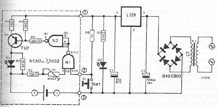 NiCd batteries charger circuit diagram project