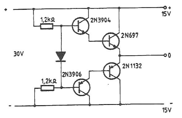 15V symmetric power supply circuit