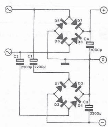 Double symmetrical power supply circuit diagram