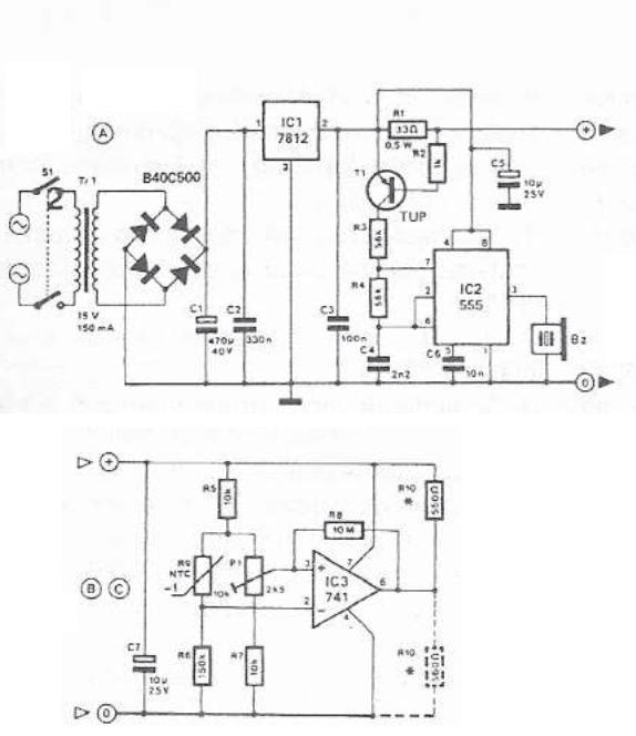 555 timer temperature monitor circuit