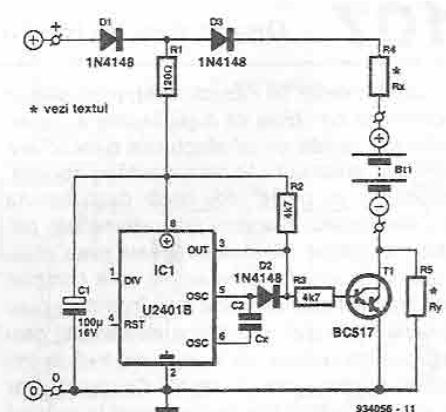 Button cell battery charger circuit U2401B