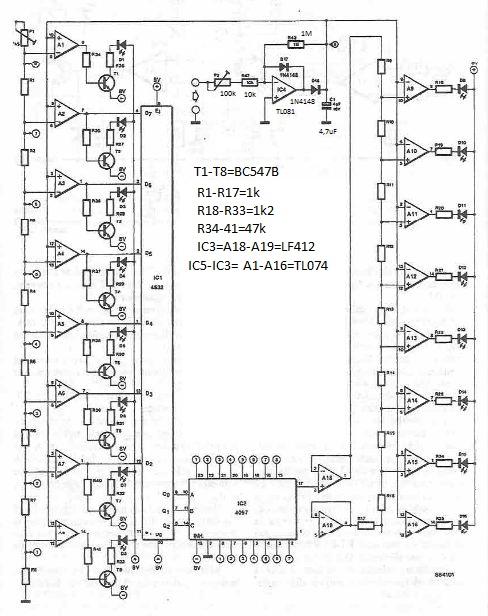 Autoscaling vumeter circuit using LEDs