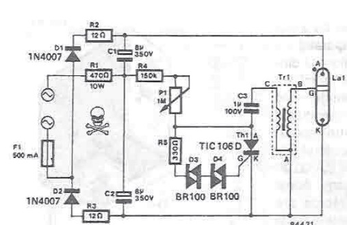 Xenon strobe electronic circuit project schematic
