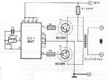 12 to 220 volts voltage converter circuit electronic project