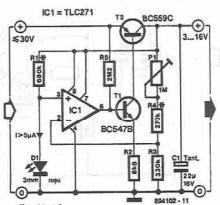 16V adjustable power supply circuit using TLC271