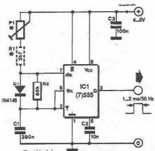Pulse generator for servo motors using 555 timer