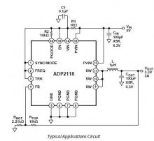 3.3V from 5V power supply circuit using ADP2118 dc converter