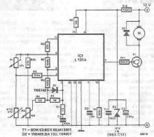 L121 simple temperature regulator circuit schematic project