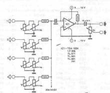 Audio mixer circuit diagram project using operational amplifier