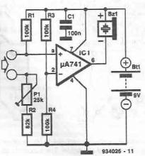 Continuity tester circuit using 741 opamp