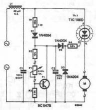 Drilling machine speed regulator circuit diagram electronic project