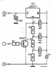 LM317 Optical warning circuit diagram
