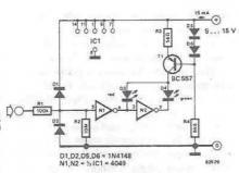 TTL and CMOS signals tester circuit diagram