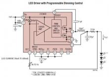 LTC3600 LED driver with programmable dimming control circuit diagram