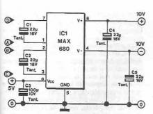 MAX680 symmetrical voltage doubler circuit diagram electronic project