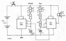 US police electronic siren circuit using 555 timer