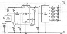 Temperature indicator electronic circuit using LEDs and lm335