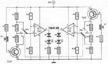 Gain transistor tester circuit diagram
