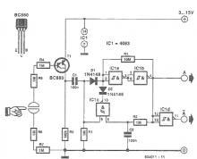 Touch switch electronic circuit Schmitt trigger