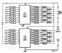 ULN2803 and ULN2003 liquid level indicator circuit diagram