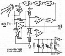 Voltage controlled oscillator circuit diagram designed with OP80