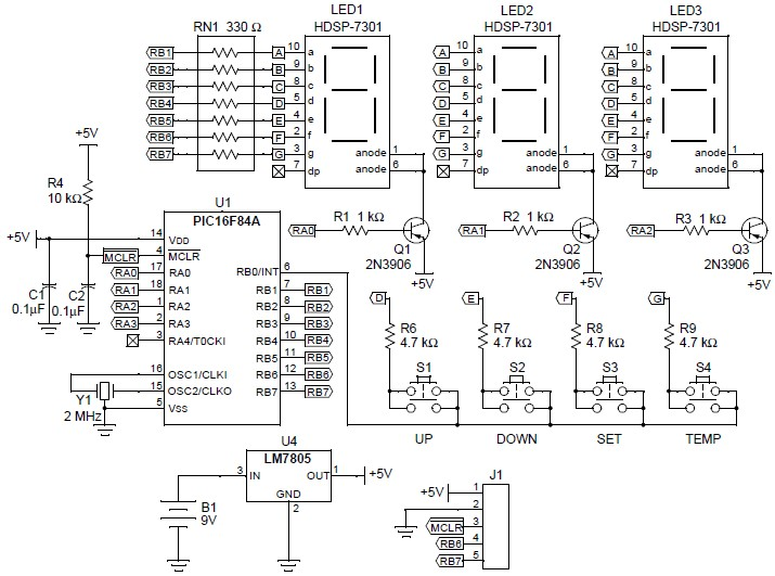 PIC16F84A digital thermometer electronic microcontroller project