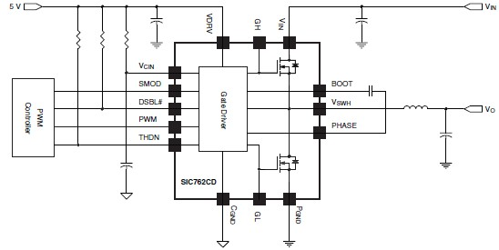 SiC762CD integrated power stage solution circuit