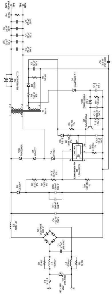 15 watt led driver circuit using lnk407eg