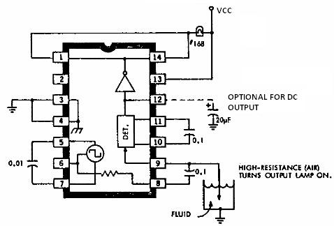 uln2429 electronic fluid detector circuit schematic