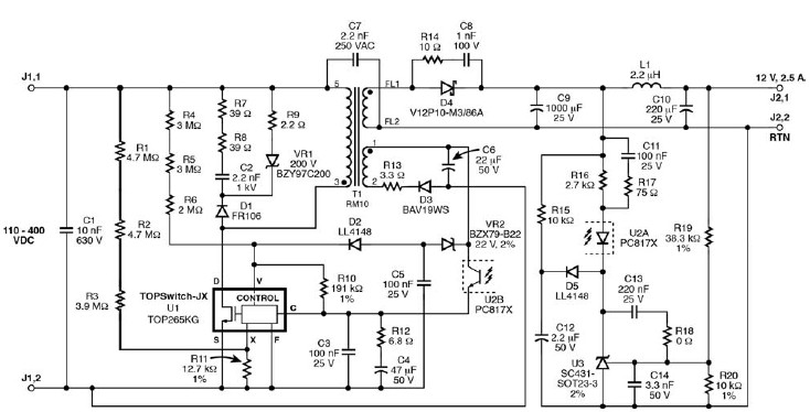 TOP265KG 12 V switching power supply circuit diagram electronic project