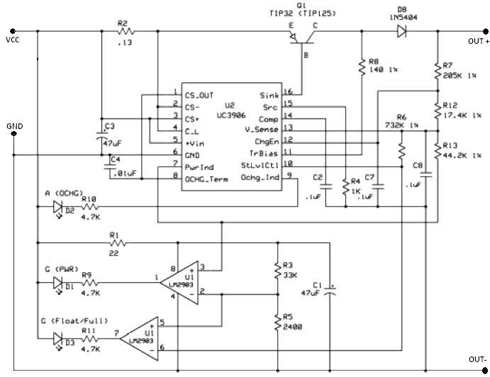 UC3906 battery charger circuit on