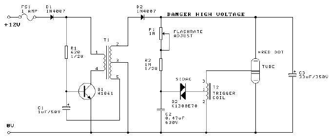 12 V xenon flasher circuit diagram project