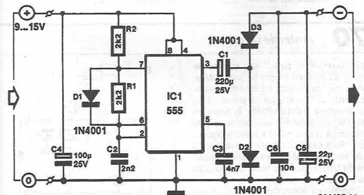 Voltage converter using 555 timer circuit