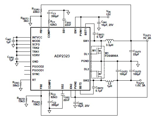 5 volt DC DC step down converter using ADP2323