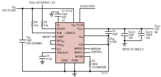 LTM4613 12 volt switching regulator circuit electronic project