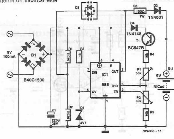 Charger for NiCd batteries using 555 timer