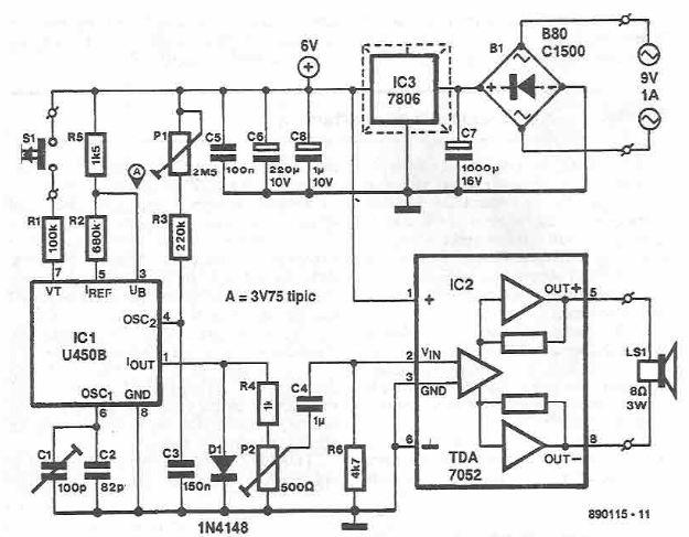 U450B electronic buzer siren circuit diagram