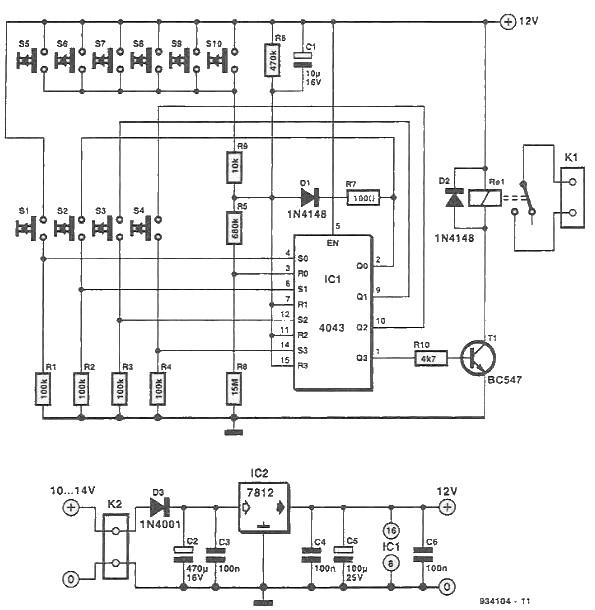 Electronic lock circuit