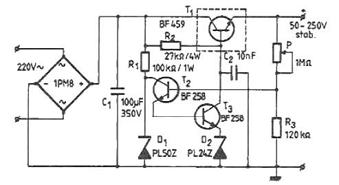 50-250 volts high voltage adjustable regulator